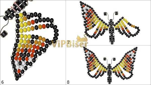 Бабочка из бисера и проволоки. Схема, мастер-класс. Шаг 2