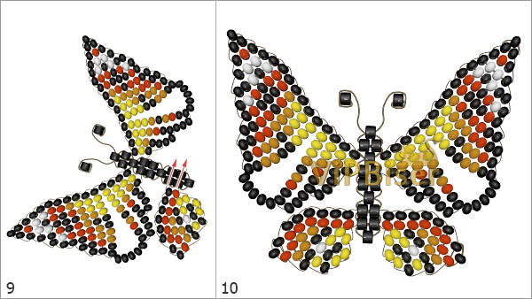 Бабочка из бисера и проволоки. Схема, мастер-класс. Шаг 3