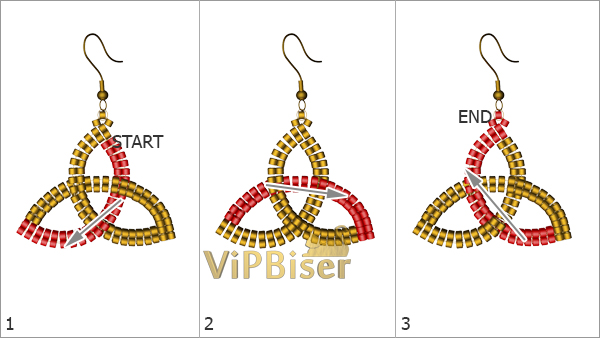 Beaded Earrings Celtic Knot Triquetra. Pattern 1