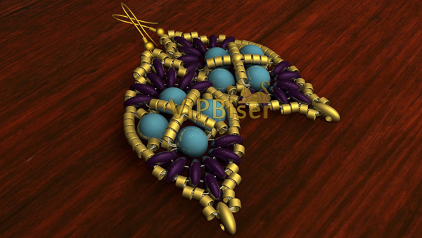 Beaded Earrings with Twin Beads. Picture. Color 1