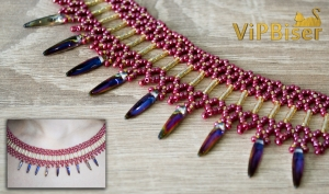 Beaded Necklace with Bugle&Thorn Beads. 3D Tutorial