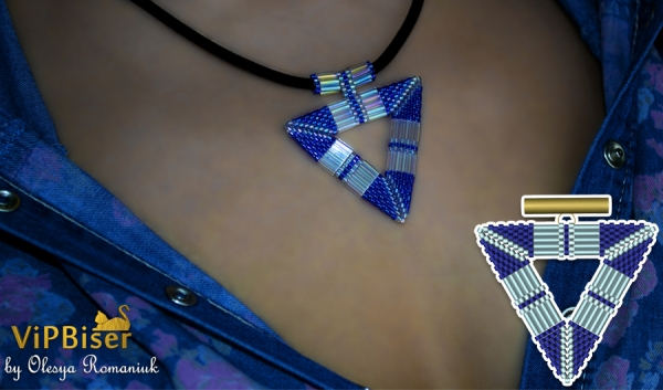 Beaded Pendant Triangle with Bugle Beads. 3D Tutorial