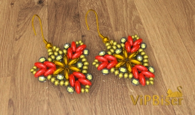 Beaded Earrings with SuperDuo and SeedBeads. 3D Tutorial