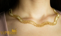 Gold Wave Beaded Necklace. 3D Tutorial