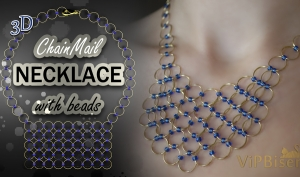ChainMail Necklace with Beads. 3D Beading Tutorial